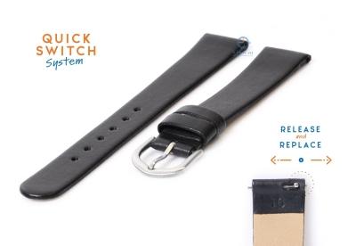 Uhrenarmband 16mm schwarz Leder ohne Naht