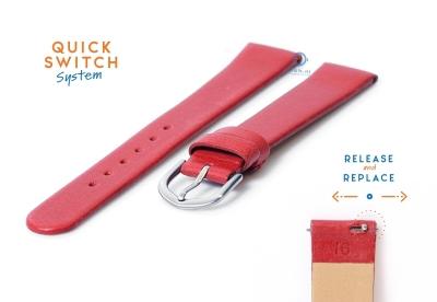 Uhrenarmband 16mm rot Leder ohne Naht