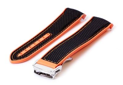 Omega Seamaster Uhrenarmband 22mm schwarz-orange Silikon
