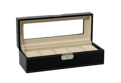 Leder-Uhrenbox mit Schloss für 5 Uhren-schwarz