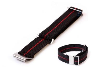 Uhrarmband 20mm Elastisch nylon Schwarz - Rot