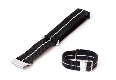 Uhrarmband 20mm Elastisch nylon Schwarz - Weiß