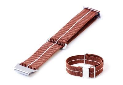 Uhrarmband 22mm Elastisch nylon Braun - Weiß