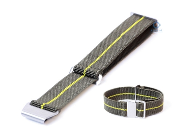 Uhrarmband 22mm Elastisch nylon Armeegrün - Gelb