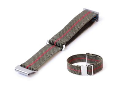 Uhrarmband 22mm Elastisch nylon Armeegrün - Rot
