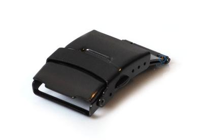 Edelstahl Faltschließe mit Drückern 20mm Schwarz mattiert