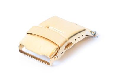 Edelstahl Faltschließe mit Drückern 22mm Gold mattiert