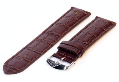 XL Uhrarmband 16mm Dunkelbraun leder mit Kroko-druck