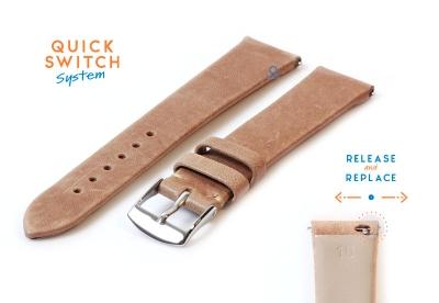 Uhrenarmband 16mm sandfarben Leder