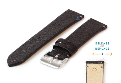 Vegan Uhrenarmband 20mm schwarz