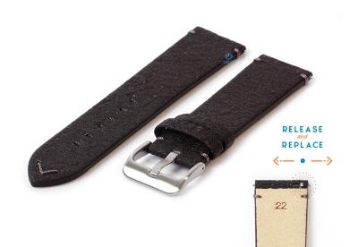 Vegan Uhrenarmband 22mm schwarz