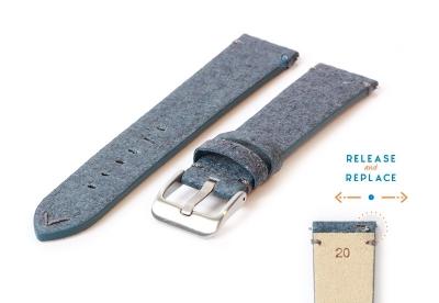 Vegan Uhrenarmband 20mm blau