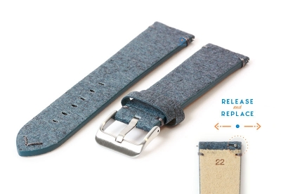 Vegan Uhrenarmband 22mm blau