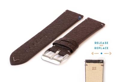 Vegan Uhrenarmband 22mm dunkelbraun