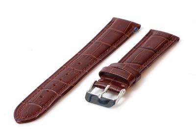 20mm lederband mit krokoprägung - braun
