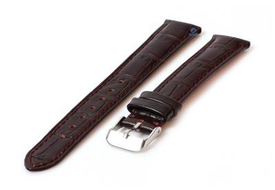 Uhrenarmband 16mm Lederarmband mit Krokoprägung - dunkelbraun