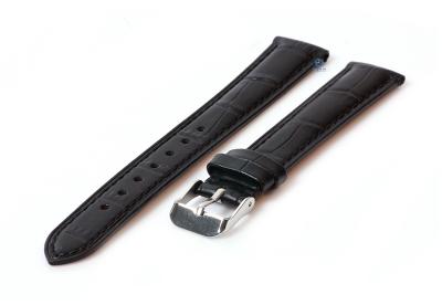 Uhrenarmband 16mm Lederarmband mit Krokoprägung - - schwarz