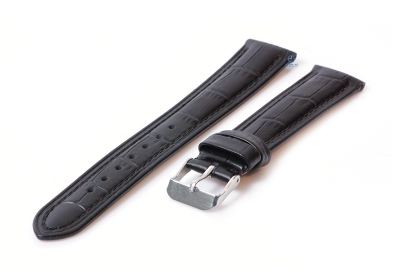 Uhrenarmband 18mm Lederarmband mit Krokoprägung - - schwarz