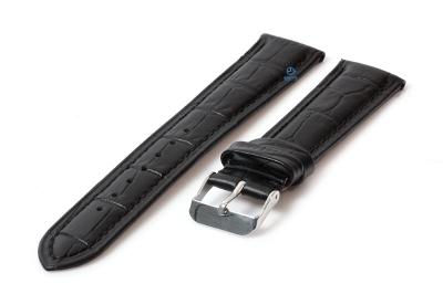 Uhrenarmband 20mm Lederarmband mit Krokoprägung - - schwarz