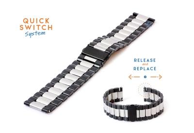 Uhrenarmband 22mm Mattstahl silber/schwarz