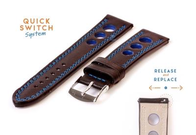 Uhrenarmband 20mm racing schwarz mit blauer Naht