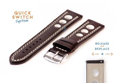 Uhrenarmband 20mm racing schwarz mit weißer Naht
