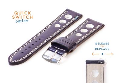 Uhrenarmband 20mm racing blau mit weißer Naht