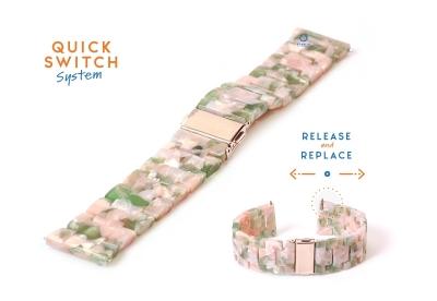 22mm resin Uhrenarmband - turtle pink/grün