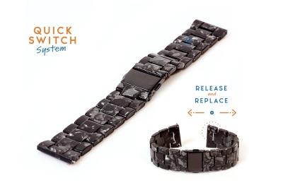 20mm resin Uhrenarmband - Granit schwarz/grau