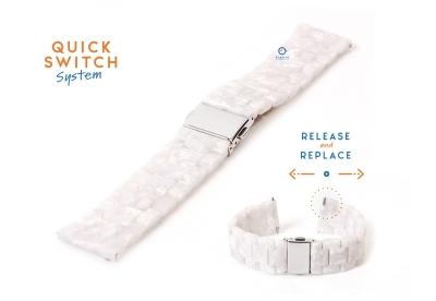 20mm resin Uhrenarmband - Perle weiß