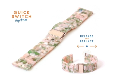 20mm resin Uhrenarmband - turtle pink/grün