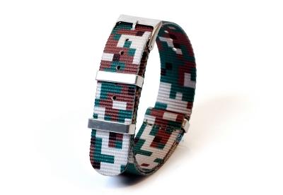 Uhrenarmband 20mm nylon - pixel grün/braun