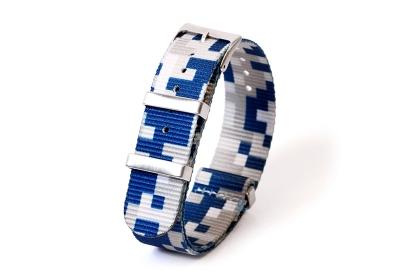 Uhrenarmband 20mm nylon - pixel blau