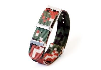 Uhrenarmband 20mm nylon - pixel braun/grün