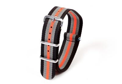 Textil Nato Strap - schwarz/grau/orange