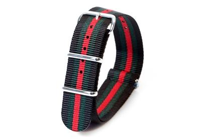 Textil Nato Strap - schwarz/grün/rot