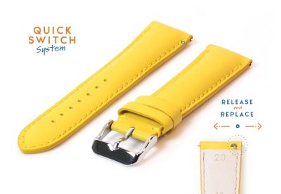 Uhrenarmband 20mm gelb kalb Leder