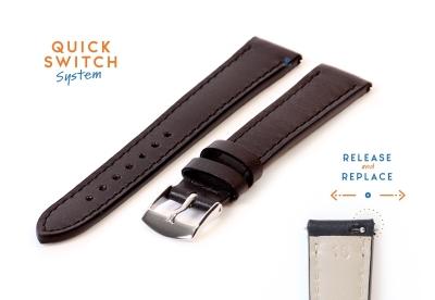 Leder Uhrenarmband 16mm schwarz
