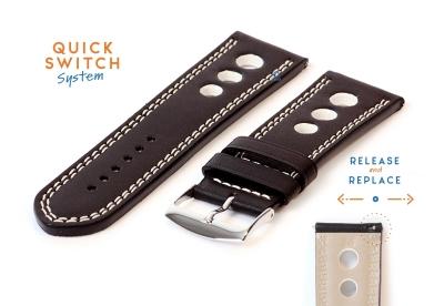 Leder Uhrenarmband 26mm - racing schwarz mit weißer Naht