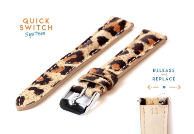 Leder Uhrenarmband 16mm - leopard print