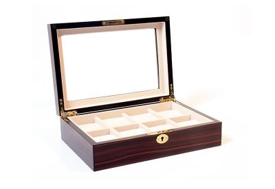 Holz-Uhrenbox für 8 Uhren-Ebony matt