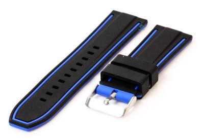 Silikon Uhrenarmbänder 26mm schwarz/blau (umdrehbar)