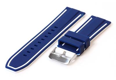 Silikon Uhrenarmbänder 26mm blau/weiß (umdrehbar)