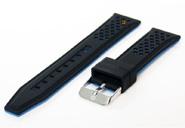 20mm Silikon Uhrenarmband Schwarz/Blau